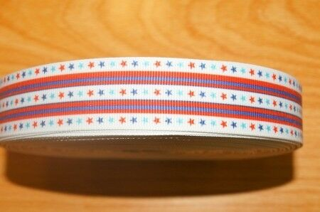 1459 Bunte Sterne auf Weiß 25mm Breite Ripsband Webband Borte