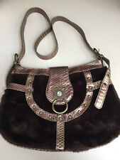 Brown fake fur bag with bronze snake effect trim