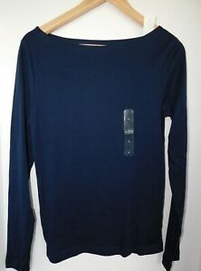 NWT-GAP-Women-039-s-Favorite-Fitted-LS-T-Shirt-Navy-Blue-Boat-Neck-XS-S-M-XL-New