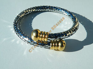 Bracelet-Jonc-Ajustable-Duo-Or-Argent-Acier-Inoxydable-Maille-Serpent-Ecailles