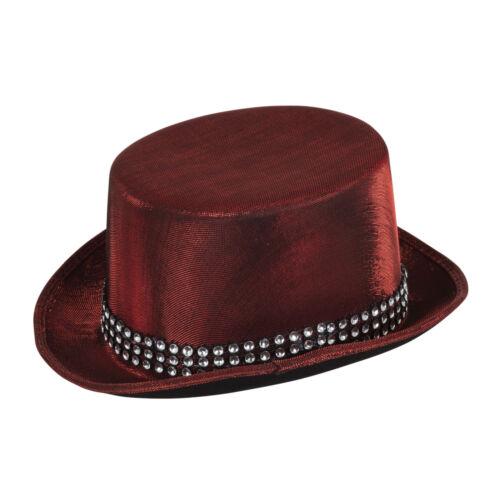 """TOP HAT RED /""""metallico/"""" Guarda con Fascia Costume Accessorio costume di scena"""