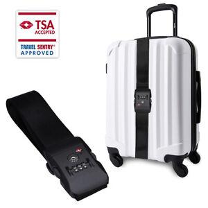Adjustable Suitcase Luggage Baggage Straps 3 Digit Lock Belt Tie Down Travel
