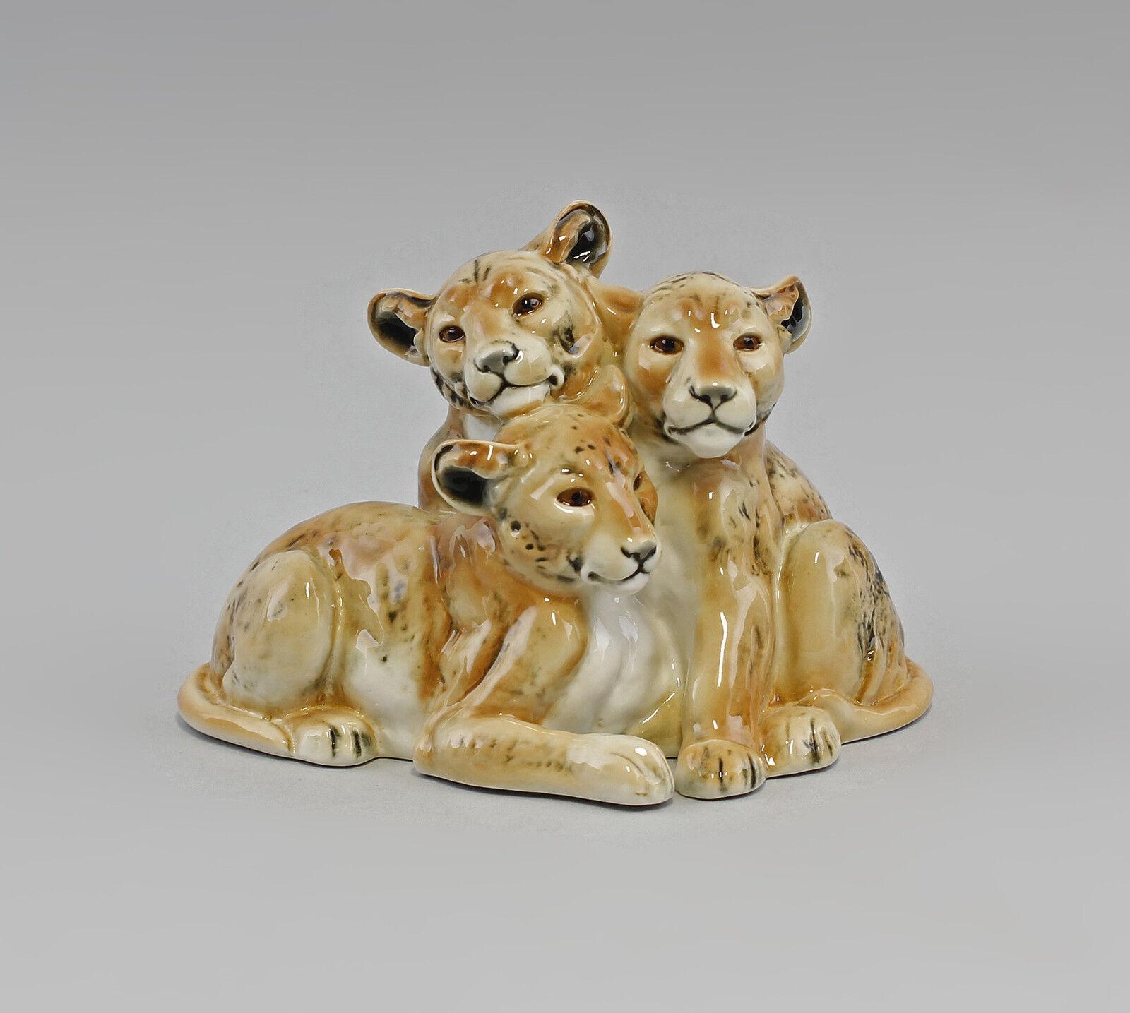 Porzellan Figur Löwenbaby-Gruppe Ens 17x13cm 9941630