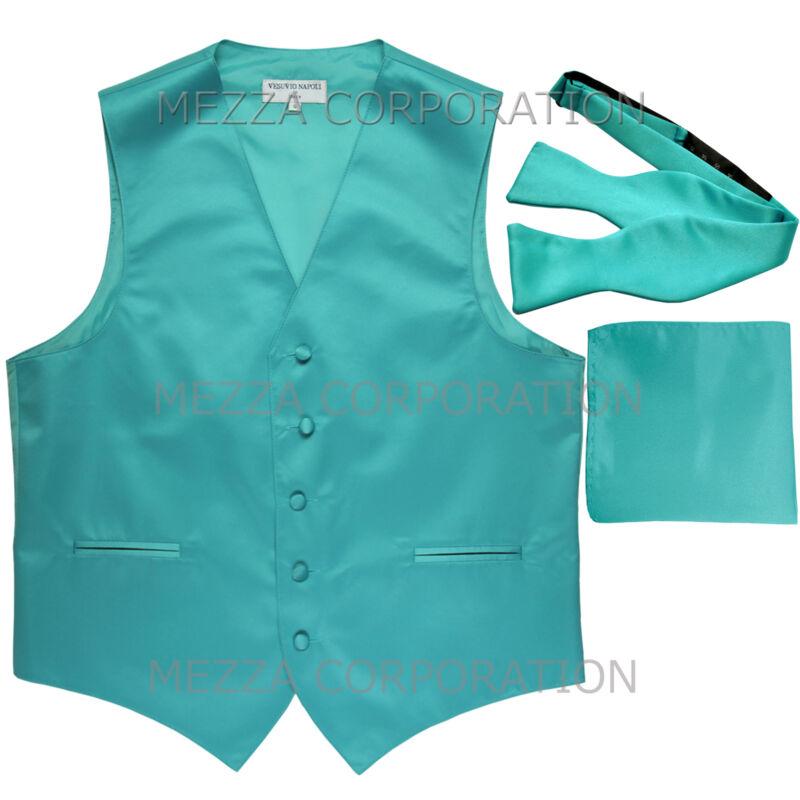 Neu Herren Aquamarinblau Weste Smoking Clip Schleife Krawatte Und Taschentuch