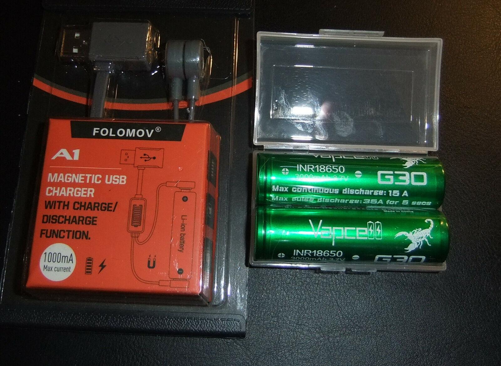 Folomov A1 fast 1A Li-Ion Battery Charger / Powerbank+ 2x Vapcell 3000mAh