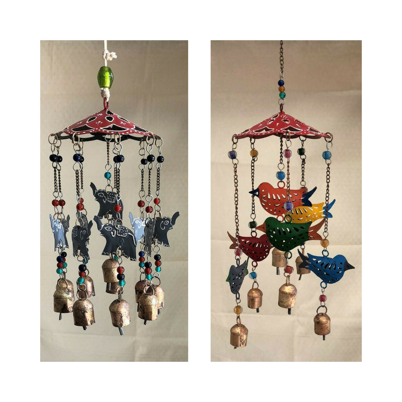 Large Wind Chimes Outdoor Sound Rich Relaxing Tones 6 x 15 inches Red Green Blue