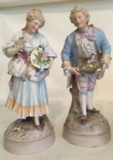 "Pair German Bisque Handpainted Figurines 15"" Crossed Swords No Chips"