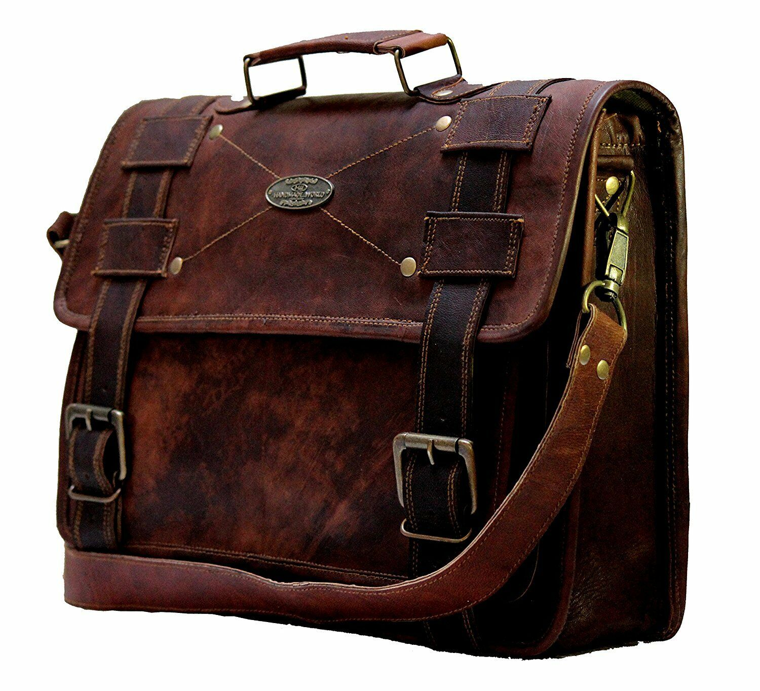 155e2868a891 Details about 16 Inch Laptop Messenger Briefcase Large Satchel Business  Leather Computer Bag