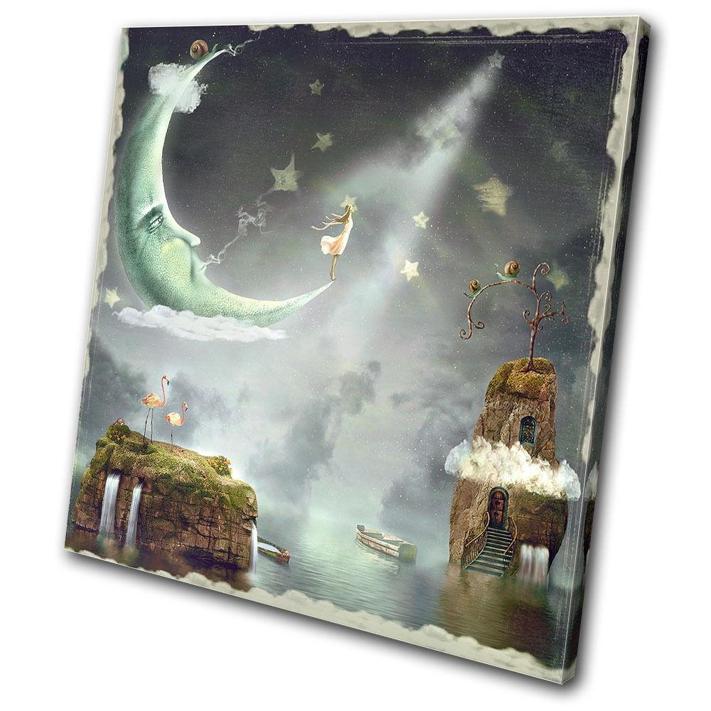 Fantasy Nighttime Magic  SINGLE Leinwand Wand Kunst Bild drucken