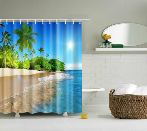 Sunset Ocean Beach Seaside Palm Trees Shower Curtain Bathroom Waterproof Fabric