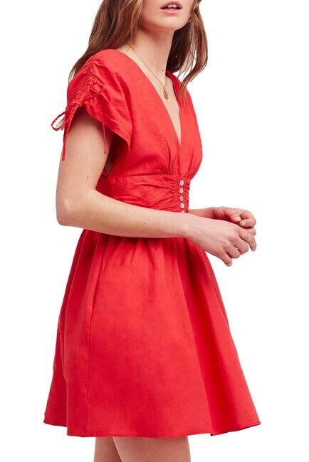 Free People Damen Rollen die Würfel OB825877 Kleid Slim Cherry Kiss Rot Größe XS