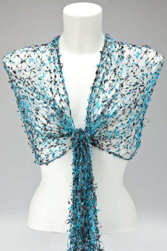 dentelle châle Wrap cobweb mariage commerce équitable Bleu turquoise gris noir Écharpe net