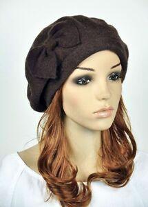 Classic-Bow-Acrylic-Wool-Fashion-Lady-Women-Dress-Hat-Beanie-Ski-Beret-5-Colors