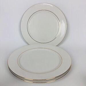 "Classic Gold White Gold Rimmed Desert Plates 215 Vintage 1998 Set of 3 10 3/4"""