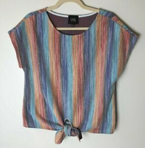 W5 Women's Top Size Small Short Sleeves Tie Waist Casual Stripes Red Orange Blue