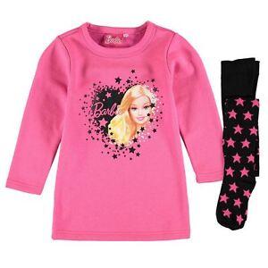 Nuevo-Oficial-Barbie-Vestido-amp-Medias-Set-Negro-Blanco-Rosa-9-10-anos-nina