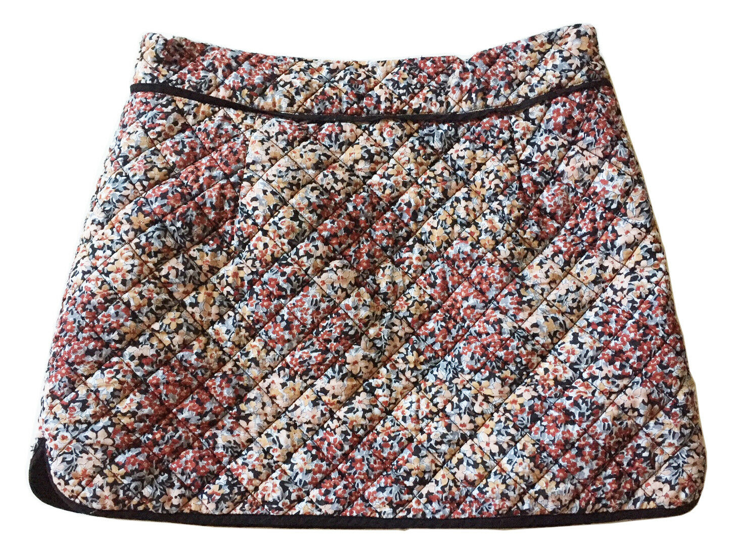 COMPTOIR des COTONNIERS  Lola  Cotton Zip Floral Quilted Cotton Mini Skirt Sz 38