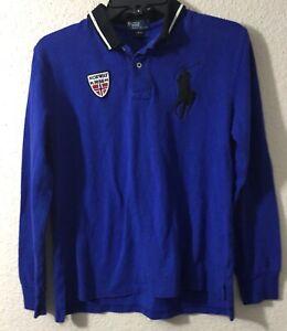 Polo-Ralph-Lauren-Boys-Shirt-Top-Sz-L-14-16-Cotton-L-S-Norway-Big-Pony-Blue