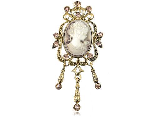 Vintage Detail Dangle Beautiful Topaz Rhinestone Cameo Lady Pin Brooch B0940