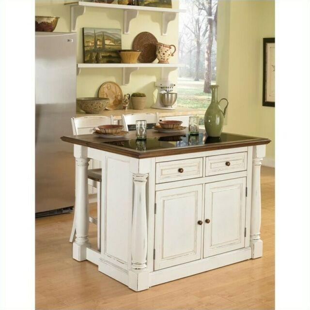 Home Styles Monarch Kitchen Island with Granite Top and Two Stools