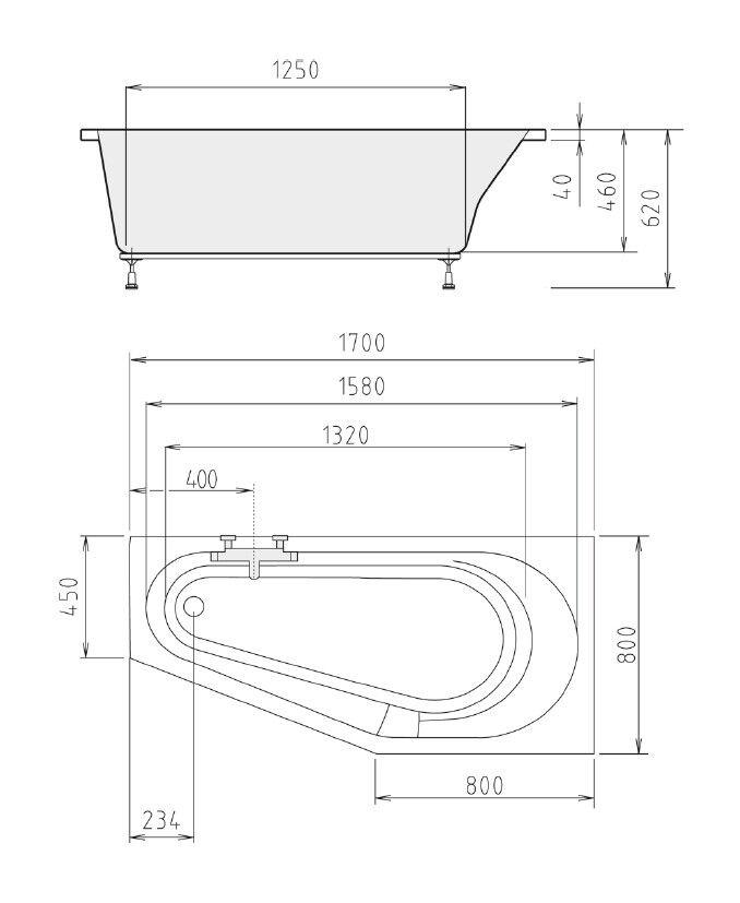 Badewanne 170x80 cm incl. Füße + Schürze + Ablauf Ablauf Ablauf + Befest. 80x170 46 cm tief R cb122a