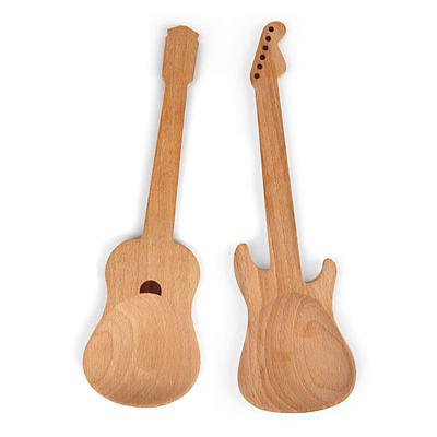 Kikkerland Salatbesteck Rockin' Spoons Holz Gitarre E-Gitarre 2er Set Holzlöffel