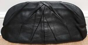 MIU MIU Made In Italy Women s Black Textured Leather Pleated Lined ... 37cfa71b16524