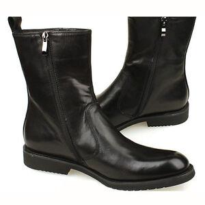 Calfskin Leather formal dress shoes SLIP-ON zipper Gore Boots mens ...