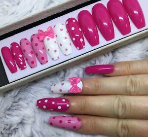 Pink Polka Dot Bow False Fake Extra Long Coffin Nails Set Ebay