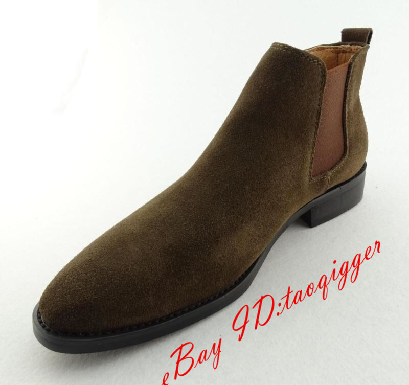 Men England Genuine Suede Pull On Chelsea Boots High Top Ankle Boots Dress Shoes