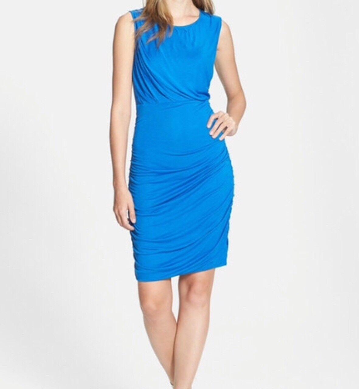 Diane von Furstenberg DVF Angelina Short-Sleeve Ruched Dress Dark Lapis Size S