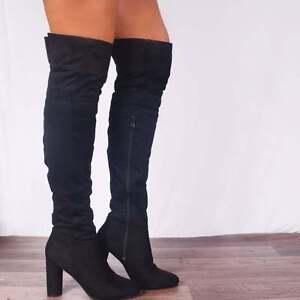 973e6008 Detalles de Negro sobre la rodilla Botas altas Elástico Tacones Altos  Plataformas Zapatos Talla 3 4 5 6 7- ver título original