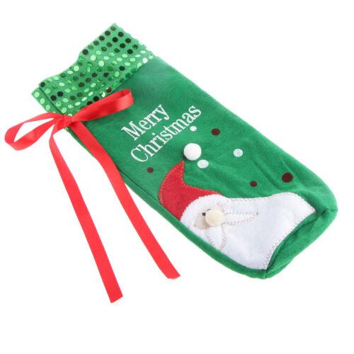 Green Santa Wine Bottle Bag Cover Xmas Family Dinner Table Christmas Decor