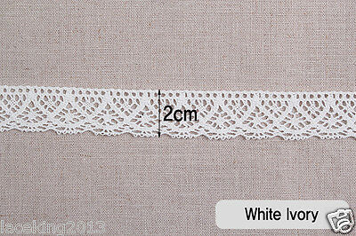 "2yds Broderie Anglaise cotton lace Crochet Trim 0.8""(2cm) YH114 laceking2013"