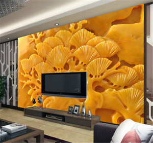 3D Yellow Tree Jade9 Wallpaper Mural Paper Wall Print Wallpaper Murals UK Carly