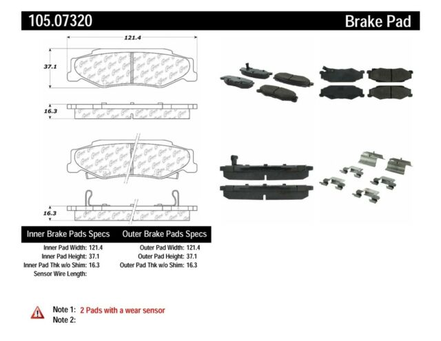 Disc Brake Pad Set Rear Centric 105.07320