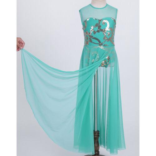 Girls Ballet Dress Dance Leotard Kid Lyrical Latin Dancewear Irregular Hem Skirt