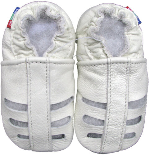 carozoo sandals white 18-24m soft sole leather baby shoes