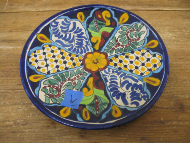 Talavera. R Venegas Mexico Mexican Pottery #L Large Chop Plate Dinner Flowers