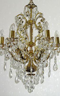 Riesige Antik Messing-Kristall Kronleuchter, Lüster 6 Armig