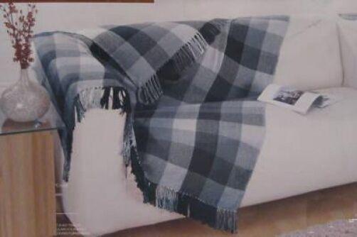 Black Grey 100% Cotton Sofa / Bed Throw 180cm x 230cm