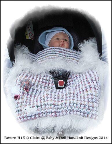 Tejer patrón Babydoll Handknit Diseños Manta de asiento de coche Asiento de bebé 0-9 M