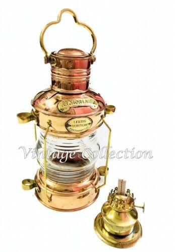 Antique Brass Anchor Oil Lamp Nautical~Vintage Maritime Ship Lantern Boat Light
