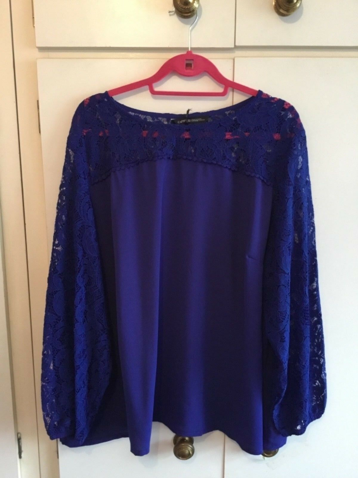 Simply b capsule royal bluee top with lace yoke and sleeves size 30 bnwot