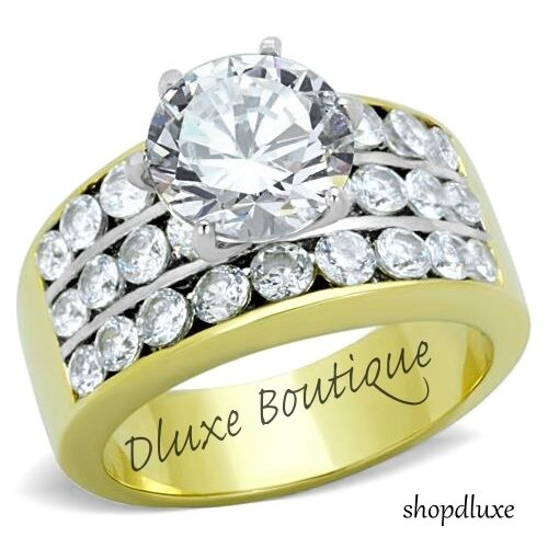 4.25 CT ROUND CUT CZ 14K GOLD PLATED WIDE BAND ENGAGEMENT RING WOMEN'S SIZE 5-10