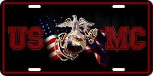 Aluminum-USMC-Eagle-Globe-Anchor-US-Marine-Patriotic-License-Plate-RWB