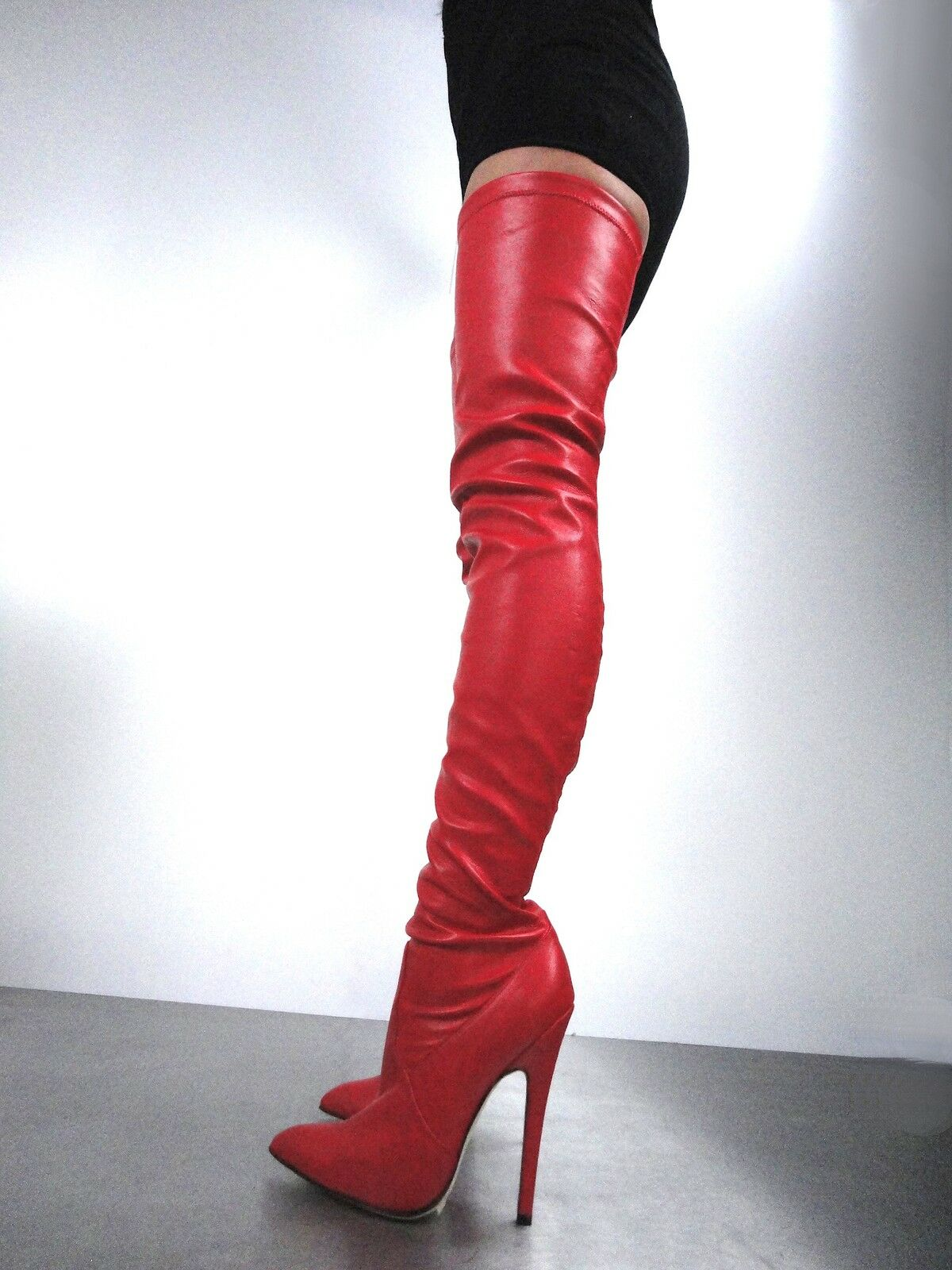 CQ COUTURE EXTREME OVERKNEE OVERKNEE OVERKNEE STIEFEL STIEFEL STIEFEL STRETCH LEATHER red 44 ab96c2
