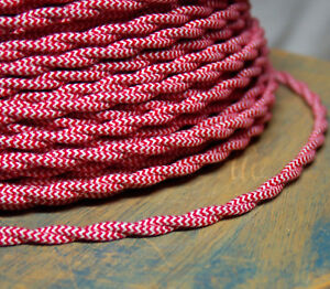 Details about Cloth Covered Twisted Wire - Red/White Pattern, Vintage on