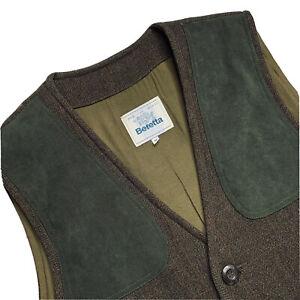 VTG 42 Beretta Sport Brown Herringbone Tweed / Suede Hunting Vest Made Italy