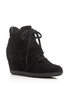 Details about ASH Women Bowie black High Top Wedge Heel Sneakers Lace Up  Shoes Ankle Bootie